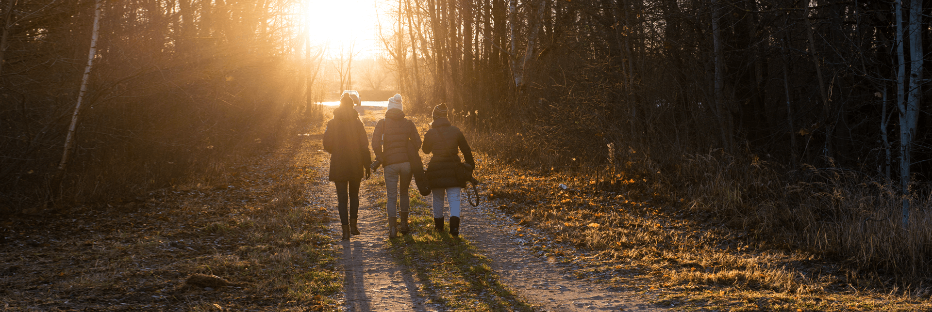 Walking outdoors with family