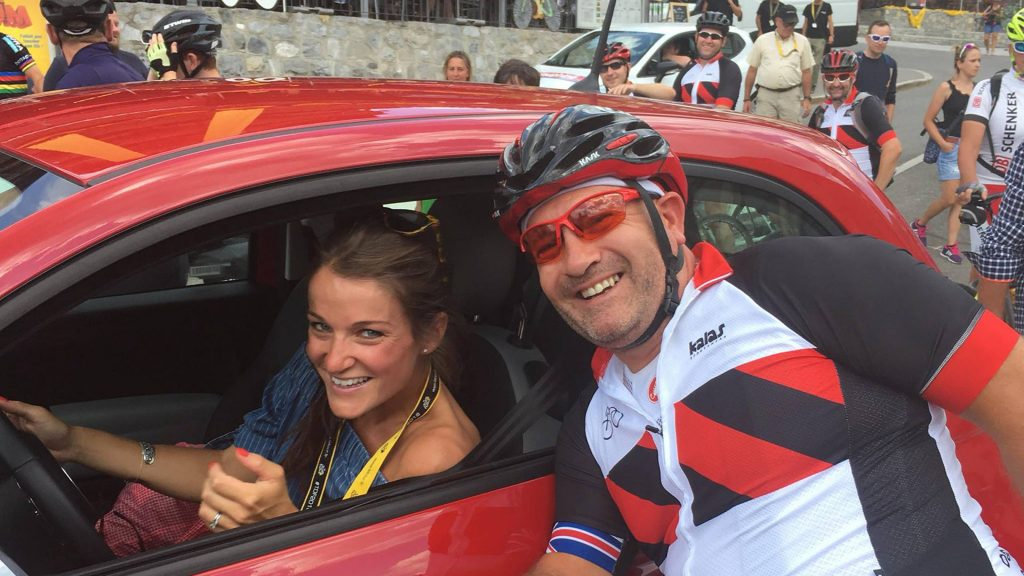 Lizzie Deignan stops for a photo